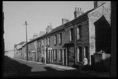 A picture of a long row of terraced houses