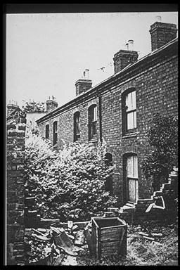 A picture of the rear of a row of derelict terraced houses showing an overgrown yard