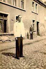 A picture of Boleslaw in a back street in Gniew, 1938.