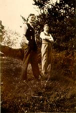 A picture of B.D. with a friend at a park in Gniew, the last week of peace in Europe, 1939.
