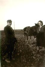 A picture of my father and sister in 1945 attending our farm.