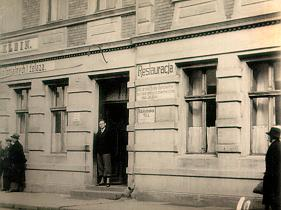 A picture of Boleslaw in front of a restaurant, Poland 1937.