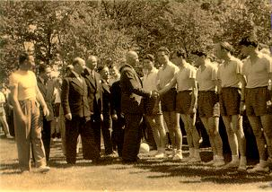 A picture of General W. Anders, the Polish military leader visiting a Polish sport team in Leicester 1949