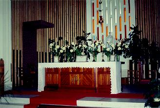 A picture of the altar at the Polish Church, the first Polish Catholic Church where the priest faces the public, Concecrated in 1957.