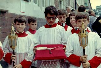 A picture of the alter boys during the consecration of the Polish Church, 1957.