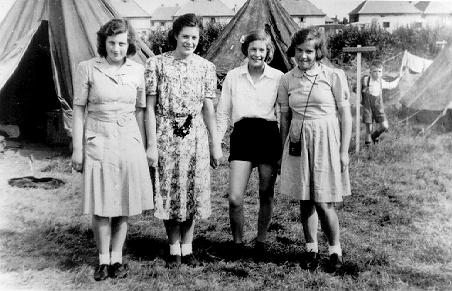 A picture of a tent and a group of girls at Winthorpe near Skegness 1946.