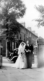 A picture of Hazel Jacques arriving at the church on her wedding day
