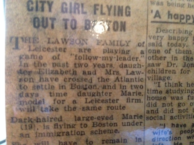 Newspaper clipping titled Leicester girl flying out to Boston