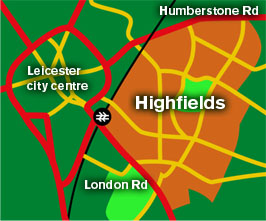 A map of the East of Leicester City showing the area of Highfields in relation to London Road and Humberstone Road