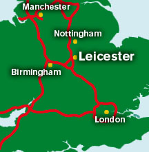 A map of the UK showing the position of Leicester in relation to Manchester, Birmingham, Nottingham and London
